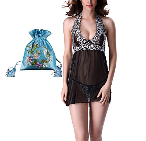 ingerie Lace Mesh Outfits Halter Mini Nightwear Lace Babydoll Black (Baby Doll Peignoir)