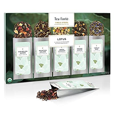 Tea Forté SINGLE STEEPS Loose Leaf Tea Sampler, Assorted Variety Tea Box, 15 Single Serve Pouches