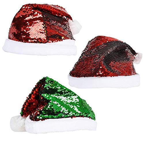 Reversible Sequin Santa Hat   Soft Pom Pom   Flip Sequin Christmas Hat Santa Claus Cap for Festive Holiday Party - Height 15