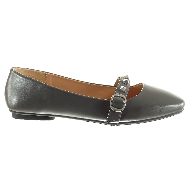Angkorly - damen Schuhe Ballerina - Slip-On - Nieten - besetzt - String  Tanga - Schleife flache Ferse 1 CM: Amazon.de: Schuhe & Handtaschen
