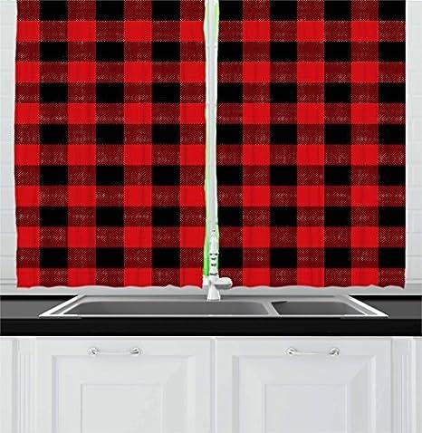 Amazon Com Ambesonne Plaid Kitchen Curtains Lumberjack Fashion Buffalo Style Checks Pattern Retro With Grid Composition Window Drapes 2 Panel Set For Cafe Decor 55 X 39 Orange Black Home