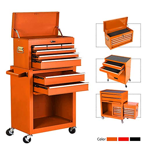 8-Drawer Rolling Tool Chest,Big Tool Chest and Tool Storage Cabinet,Tool Chest with 4 Wheels,Removable Portable Top Box with Lock Tool Chest for Garage and Warehouse-Orange