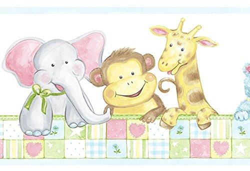(Cheeky Monkeys Wallpaper Border with Fun Zoo Animals )
