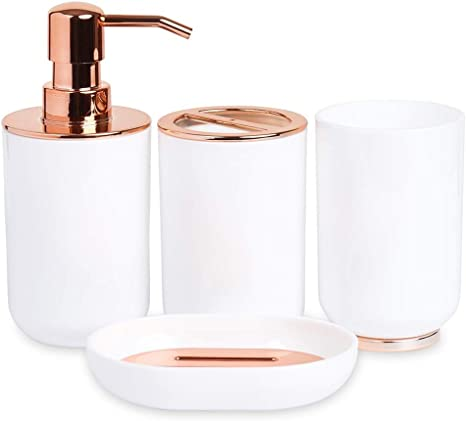 Amazon Com Blue Donuts Bathroom Accessories Set Toothbrush Holder Soap Dispenser Rose Gold And White 4 Piece Home Kitchen