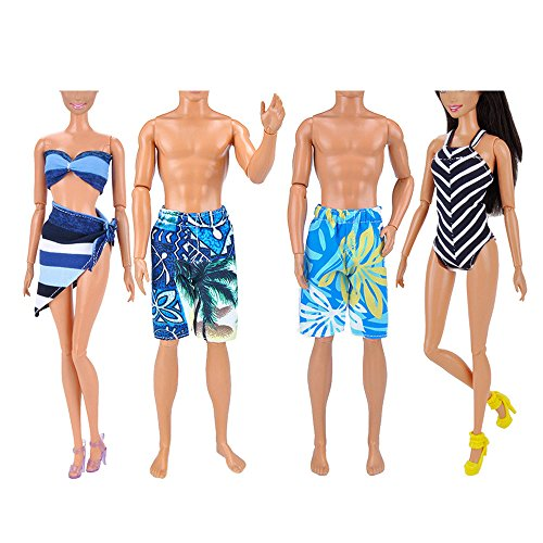 4 Sets Assorted Styles Girl Doll Toy Summer Swimsuit Beach Suits Boy Doll Beach Pants Clothes Accessories for Barbie Toys And Ken Dolls