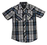 Gioberti Boys Casual Western Plaid Pearl Snap Short Sleeve Shirt, Gray/Dark Blue : Size 12