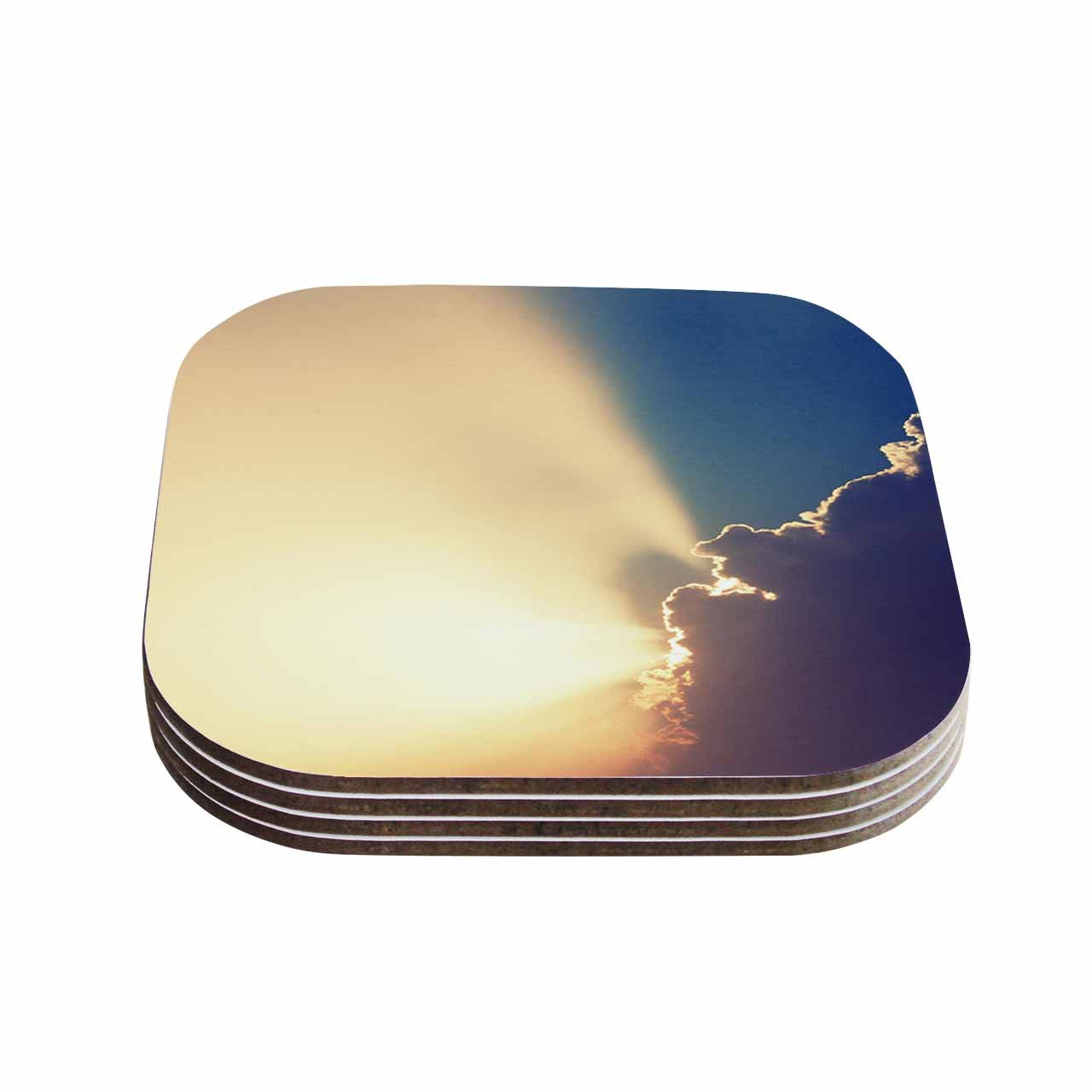 Multicolor 4 x 4 Set of 4 KESS InHouse Cvetelina TodorovaAfter the Storm Yellow Blue Coasters