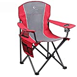 ALPHA CAMP Folding Camping Chair Heavy Duty Support 350 LBS Oversized Steel Frame Collapsible Padded Arm Chair with Cup Holder Quad Lumbar Back Chair Portable for Outdoor, Red/Gray