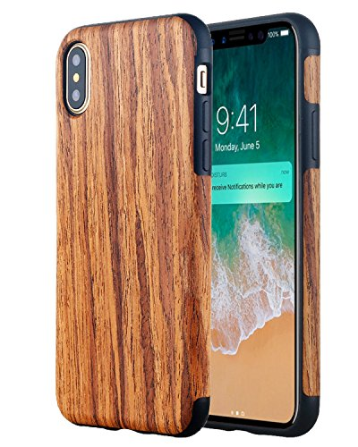 LONTECT Compatible iPhone Xs Case, [Slim Matte] [Shock Absorbing] Flex TPU Non Slip Wood Tactile Extra Grip Rubber Bumper Case Cover for Apple iPhone Xs/iPhone X, Rosewood