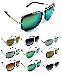 Mogul Bold Square Oversized Metal & Plastic Aviator Sunglasses