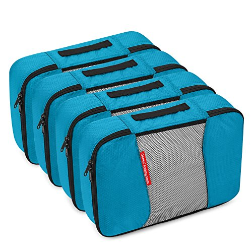 4 Medium Packing Cubes Travel Luggage Organizers Blue