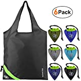 Reusable Grocery Bags 6 Pack Foldable Reusable Shopping Bags Fit in Attached Drawstring