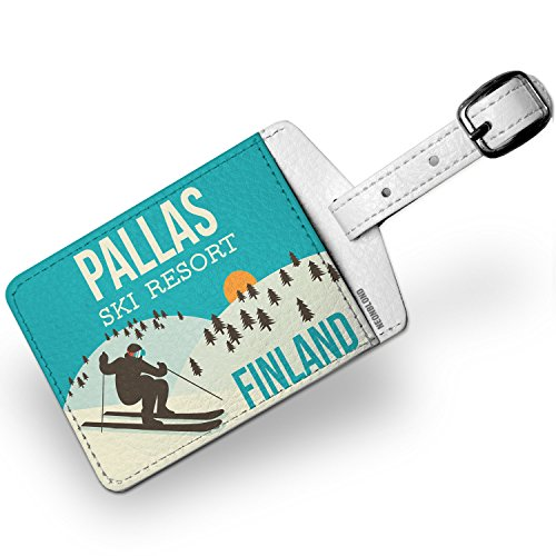 Amazon.com | Luggage Tag Pallas Ski Resort - Finland Ski Resort - NEONBLOND | Luggage Tags