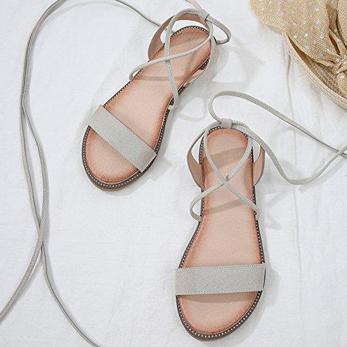 Las mujeres sandalias 2018 nueva moda de sandalias de las mujeres de moda de verano de fondo plano Toe Tiras cruzadas Antigua Roma zapatos Rice white