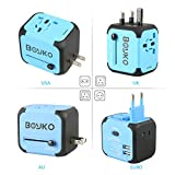 Travel Adapter, BOYKO Dual USB All-in-one Worldwide Travel Chargers Adapters for US EU UK AU about 150 countries Wall Universal Power Plug Adapter Charger with Dual USB and Safety Fuse(Blue)