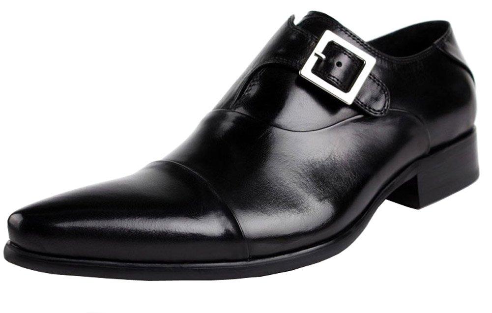Jsix Hombre De Hebilla Formales Zapatos De Vestir De Piel Ocasiones Formales o Informales,Caballero - Traje/Fiesta/Boda 39 EU|Negro