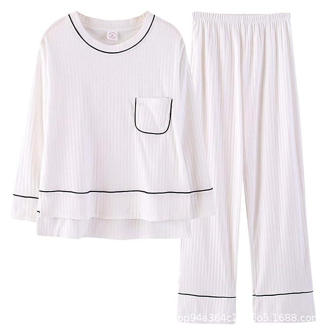Pijamas de Mujer Pantalón de Pijama de algodón Traje Blanco de Dos ...
