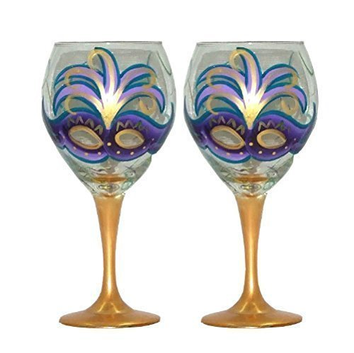Mardi Gras Design with Purple Mask Wine Glasses. Set of 2. Hand Painted.