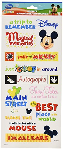 Disney Stickers For Scrapbooking - Sandylion Themepark Phrase Clear Sticker, 5.5 by 12-Inch