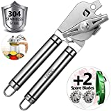 Can Opener Manual Can Opener Smooth Edge Can Openers For Seniors With Arthritis Jar Opener For Weak Beer Bottle Opener Canning Lids Pampered Chef Commercial 304 Stainless Steel (can opener 2)