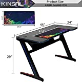 Kinsal Z-Shaped Gaming Desk Computer Desk Table
