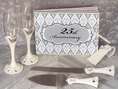 25th Anniversary 7 pieces complete accessory set - (25th Anniversary Toasting Glasses)