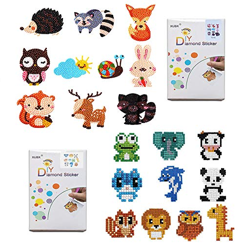 XUBX 5D DIY Diamond Painting Kits for Kids, Mosaic Sticker by Numbers Kits Arts and Crafts Set for Children (Two Animal Models) -