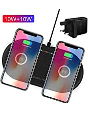 DinTo® Dual Wireless Charger 10W Fast Wirless Charger Pad Compatible with Samsung Galaxy S10/S10+/S9/Note 9/S8/S8+, 7.5W QI Charger Compatible with iPhone 11/11 Pro/11 pro max/X/XS Max/XR/X/8/8 Plus