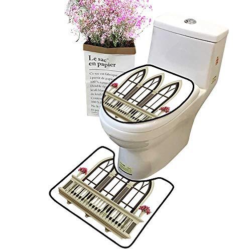 2 Piece Bathroom Mat Pedestal Rug Bath Mat Classi Balcony Balustrade triplae ce Window Contour Toilet Mat and Toilet lid