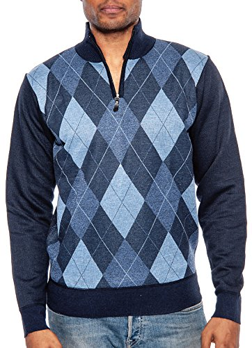 Cashmere Argyle Sweater (TR Fashion Men's Long Sleeve Casual V-Neck Argyle Pullover Sweater (Blue,)