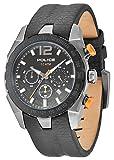 Police Men's Eagle PL.13593JSUB/02 Black Leather Quartz Watch with Black Dial