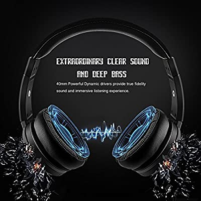 PluStore Bluetooth Headphones 40mm Powerful Driver Superior Sound Over Ear Wireless Headphones With Built-In Mic