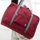 Naphele奈菲乐 可折叠旅行包手提行李袋 大容量登机包 防水套拉杆箱收纳袋 TB05(酒红)