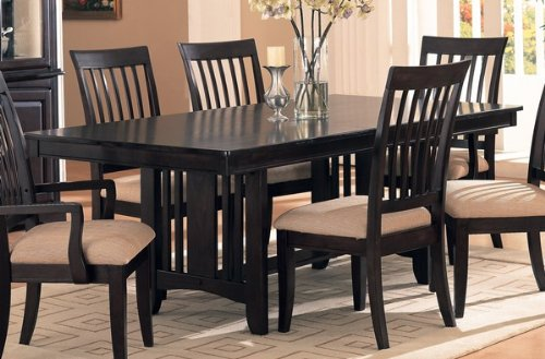 7pc Cappuccino Finish w/Birch Veneers Dining Table Chairs Set N.Part: 100181-SET