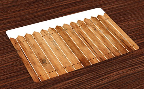 Farmland Place Mats Set of 4 by Ambesonne, Triangle Edged Timber Border Stripes Siding Woodwork Enclosing Tool Image Art, Washable Placemats for Dining Room Kitchen Table Decoration, White Brown (Patio Siding Ideas)