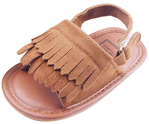 La Vogue Sandalias Bebé Zapatos Primeros con Borlas Marrón Talla12/11.5cm