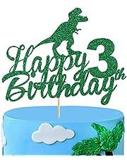 زينة كعكة الديناصورات من أنكسد لعيد الميلاد الثالث، زينة زينة لحفلات عيد ميلاد ديناصور عيد ميلاد سعيد 3 سنوات للأولاد والأطفال في الحديقة الجوراسية الديناصورات ذات طابع الديناصور