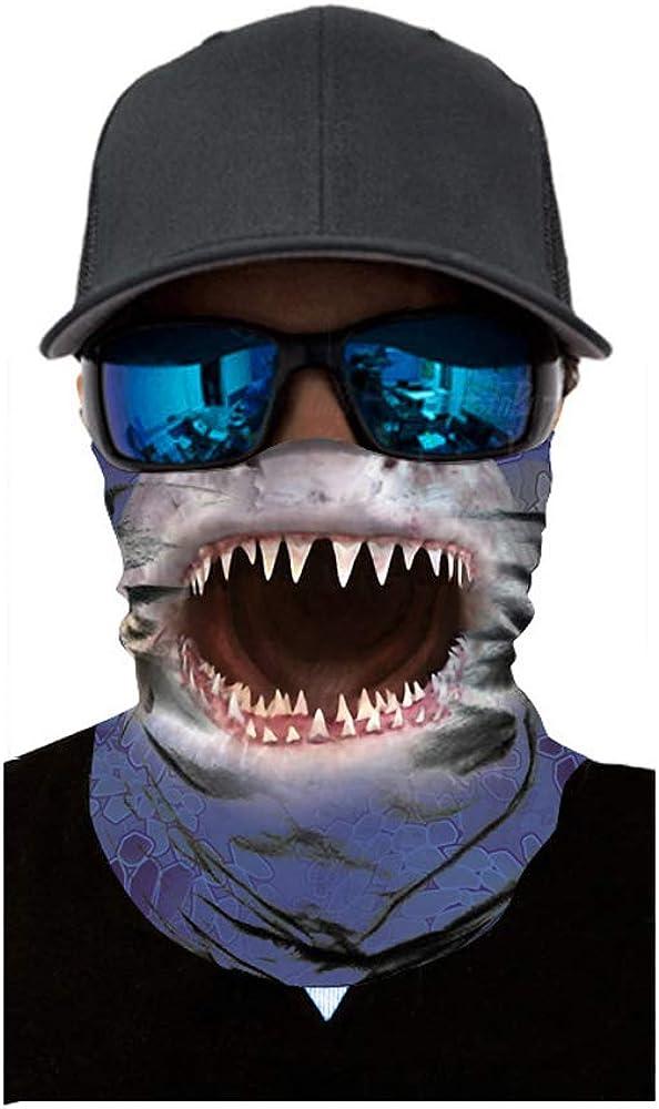 Shark Mouth Headwear Face Magic Scarf Headband Bandana Neck Gaiters Outdoor Sports for Women Men