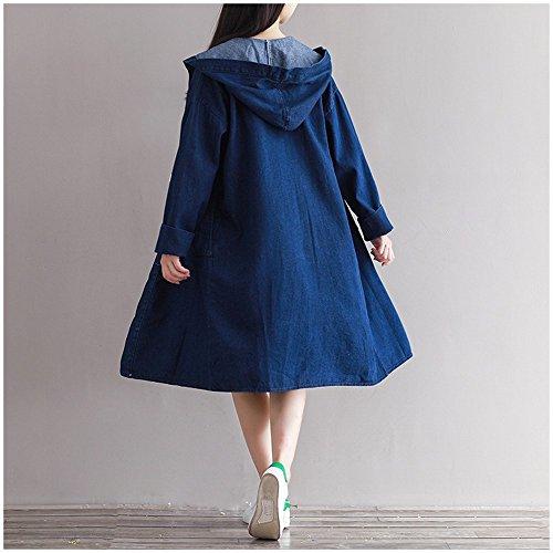 Cazadora de Chaqueta la de Las de Tamaño Azul Las Holgadas Cazadora NSFY de Del Mezclilla Mujeres de Más la Ropa Mujeres wSSvYq