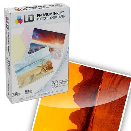 ld glossy inkjet photo sticker paper 85x11 100 pack