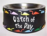 503152C Cat Dish Removeable Stainless Steel Dish with Catch of the Day w/Mice saying Small 6.5 in x 2.5 in