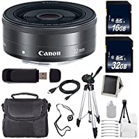 Canon EF-M 22mm f/2 STM Lens + 32GB SDHC Class 10 Memory Card + 16GB SDHC Class 10 Memory Card 6AVE Bundle 14 (International Verion) No Warranty