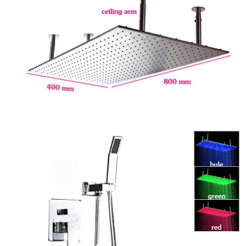 Gowe Hot Cold Bath Shower Mixer Faucet 400x800 Wall Mount Stainless Steel LED Big Rain Shower Head and HandShower Conceal Shower Set 1