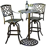 Cast Aluminum Brown Outdoor Bistro Bar Set