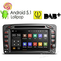 XTRONS 7 Inch Quad Core Android 5.1 Car Stereo Multi-touch Screen DVD Player GPS 1080P Video Screen Mirroring OBD2 Built-in DAB+ Tuner Tire Pressure Monitoring for Mercedez-Benz CLK-W209/C-W203