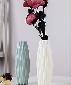 2PC Plastic Flower vase Geometric Plastic Home Décor Vase for Living Room, Study (Bule+White)
