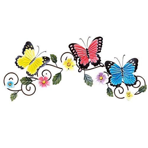 Collections Etc Butterfly and Floral Metal Spring Wall Art D
