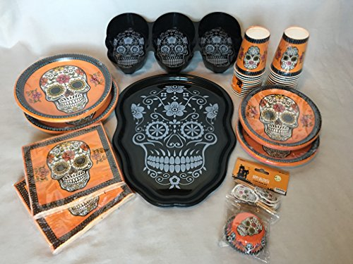 Halloween Party Bundle - Day Of The Dead - Sugar Skull - Plates - Cups - Napkins - Trays - Cupcake Liner - Cupcake (Easy Halloween Cupcake Decorating Ideas)