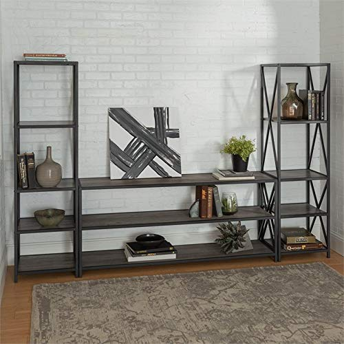 Walker Edison Furniture Company 3-Piece Entertainment Center - Gray Wash (Entertainment Three Piece Center)