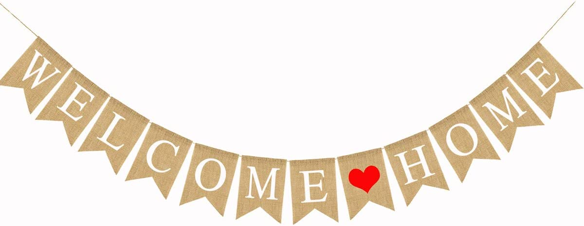 Welcome Home Baby Decorative Banners Love Bunting(5.1X7.1inch) Burlap Swallowtail Flag Decorative Supplies (Welcome Home LOVE)